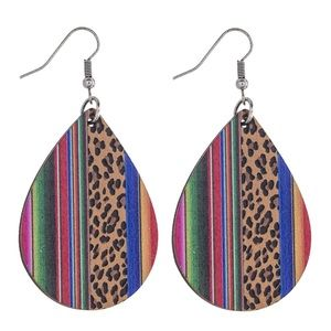 Teardrop Serape Leopard Animal Dangle Earrings